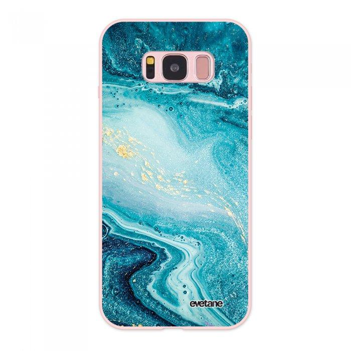 Coque Samsung Galaxy S8 Silicone Liquide Douce rose pâle Bleu Nacré Marbre Ecriture Tendance et Design Evetane - Coquediscount