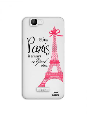 Coque de protection rigide Paris transparente et rose pour Wiko Rainbow