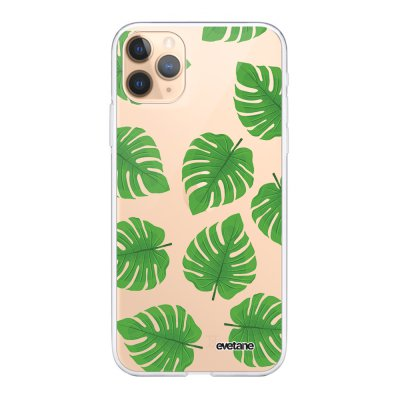 Coque iPhone 11 Pro 360 intégrale transparente Feuilles palmiers Ecriture Tendance Design Evetane