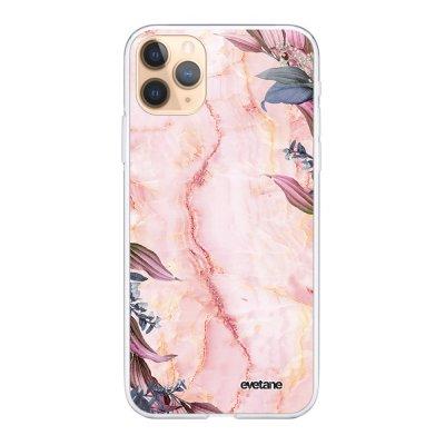 Coque iPhone 11 Pro 360 intégrale transparente Marbre Fleurs Ecriture Tendance Design Evetane