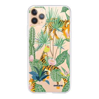 Coque iPhone 11 Pro 360 intégrale transparente Tigres et Cactus Ecriture Tendance Design Evetane