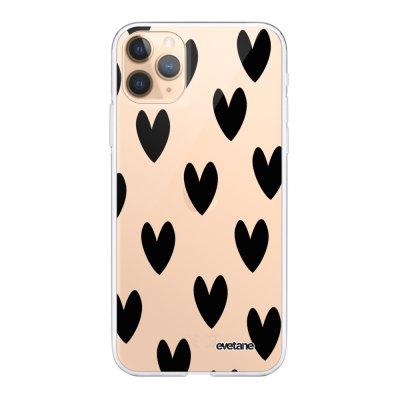 Coque iPhone 11 Pro Max 360 intégrale transparente Cœurs Noirs Ecriture Tendance Design Evetane