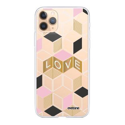 Coque iPhone 11 Pro Max 360 intégrale transparente Cubes love Ecriture Tendance Design Evetane