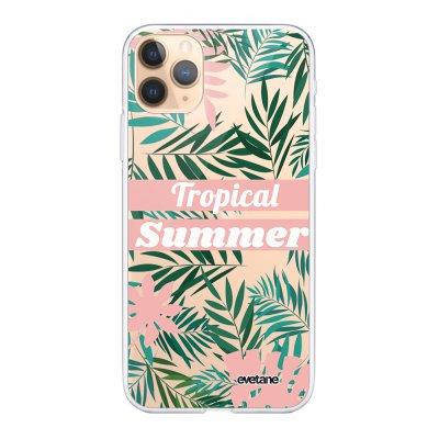 Coque iPhone 11 Pro Max 360 intégrale transparente Tropical Summer Pastel Ecriture Tendance Design Evetane