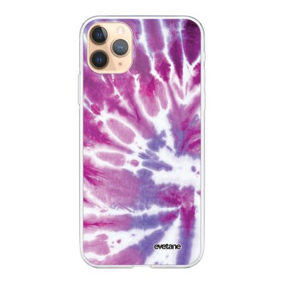 Coque iPhone 11 Pro Max 360 intégrale transparente Tie and Dye Violet Ecriture Tendance Design Evetane