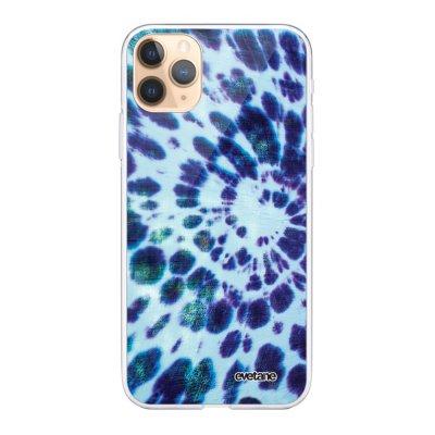 Coque iPhone 11 Pro Max 360 intégrale transparente Tie and Dye Bleu Ecriture Tendance Design Evetane