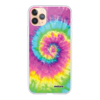 Coque iPhone 11 Pro Max 360 intégrale transparente Tie and Dye Rainbow Ecriture Tendance Design Evetane