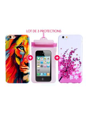 Pack essentiel pour iPhone 6+/6S+ : Coque Lion Color + Coque Fleur + Pochette Waterproof