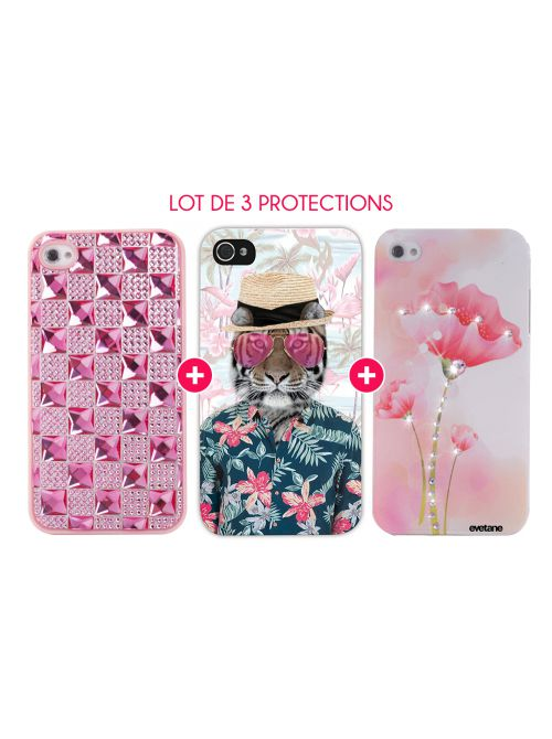 Pack 3 Protections Fashions pour iPhone 4/4S : Coque Crystaux + Coque Tigre tropic + Coque Fleur Strass