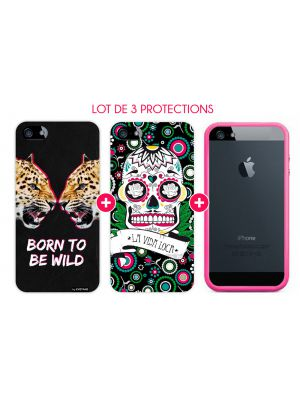 Pack essentiel pour iPhone 5/5S : Bumper Rose + Coque Vida Loca + Coque Born To Be Wild