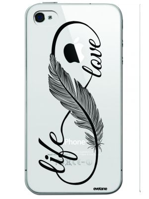 Coque souple transparente love life pour iPhone 4/4S