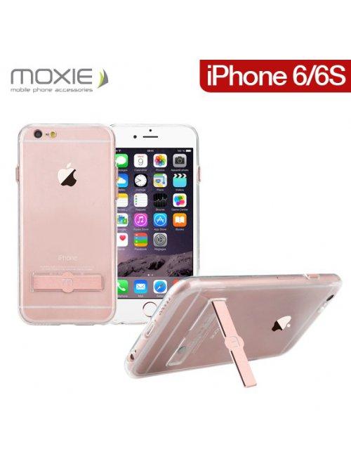 Coque Moxie en gel transparente avec stand Gold Pink pour iPhone 6/6S