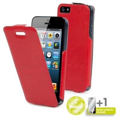 Etui clapet Muvit portfolio rouge glossy pour iPhone 5 / 5S film miroir inclus