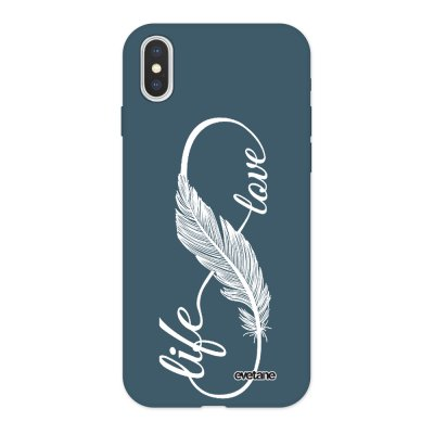 Coque iPhone X/ Xs Silicone Liquide Douce bleu nuit Love life blanc Ecriture Tendance et Design Evetane