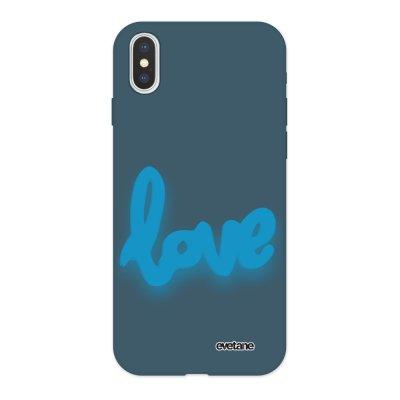 Coque iPhone X/ Xs Silicone Liquide Douce bleu nuit Love Fluo Ecriture Tendance et Design Evetane
