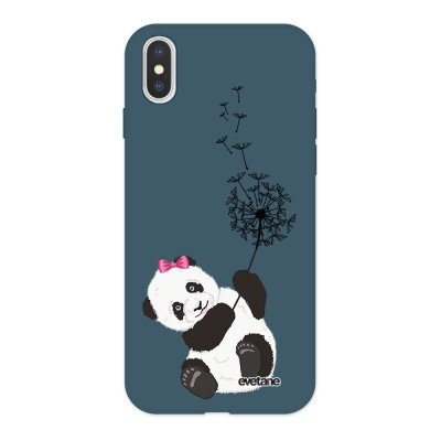 Coque iPhone X/ Xs Silicone Liquide Douce bleu nuit Panda Pissenlit Ecriture Tendance et Design Evetane