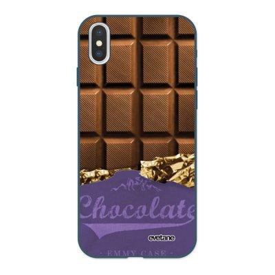 Coque iPhone X/ Xs Silicone Liquide Douce bleu nuit Chocolat Ecriture Tendance et Design Evetane