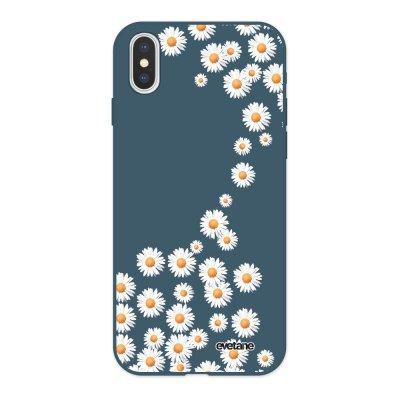 Coque iPhone X/ Xs Silicone Liquide Douce bleu nuit Marguerite Ecriture Tendance et Design Evetane