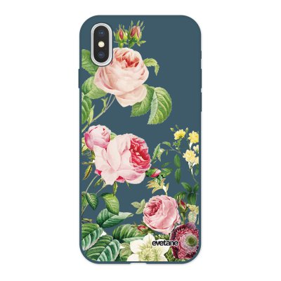 Coque iPhone X/ Xs Silicone Liquide Douce bleu nuit Motifs Roses Ecriture Tendance et Design Evetane