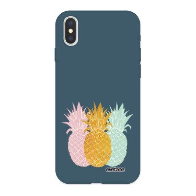 Coque iPhone X/ Xs Silicone Liquide Douce bleu nuit Ananas trio Ecriture Tendance et Design Evetane