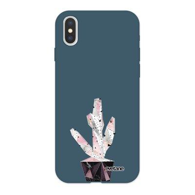 Coque iPhone X/ Xs Silicone Liquide Douce bleu nuit Cactus Geometrique Marbre Ecriture Tendance et Design Evetane