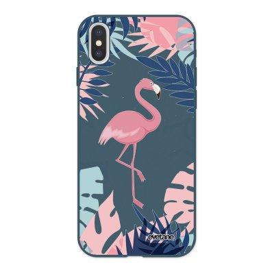 Coque iPhone X/ Xs Silicone Liquide Douce bleu nuit Flamant Tropical Evetane.