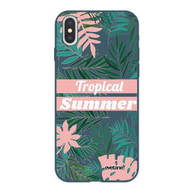 Coque iPhone X/ Xs Silicone Liquide Douce bleu nuit Tropical Summer Pastel Evetane.