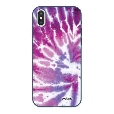 Coque iPhone X/ Xs Silicone Liquide Douce bleu nuit Tie and Dye Violet Ecriture Tendance et Design Evetane
