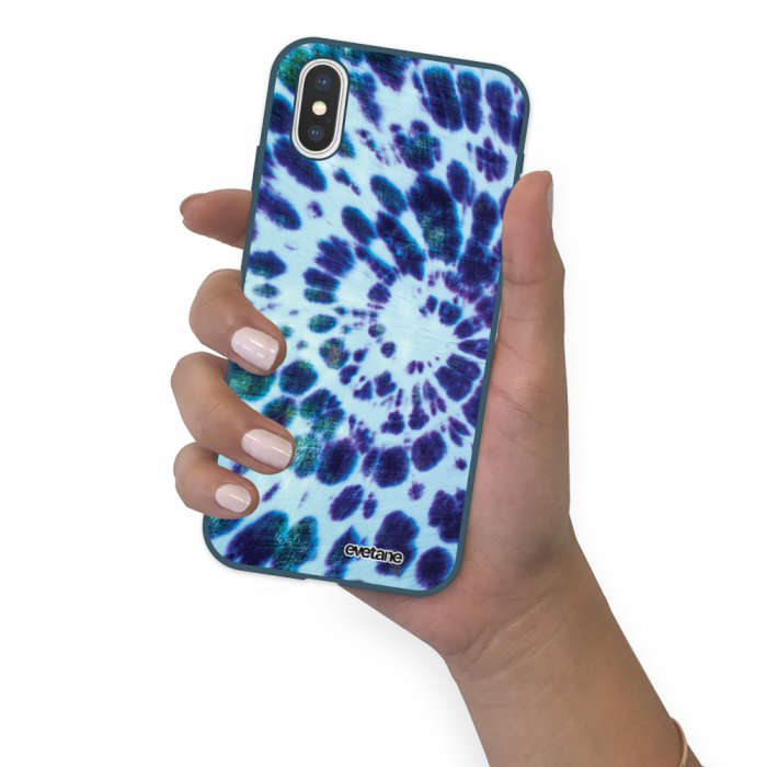 Coque iPhone X/ Xs Silicone Liquide Douce bleu nuit Tie