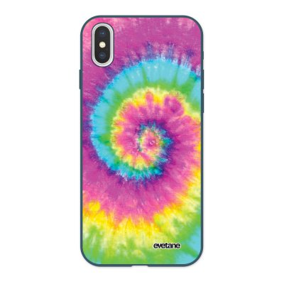 Coque iPhone X/ Xs Silicone Liquide Douce bleu nuit Tie and Dye Rainbow Ecriture Tendance et Design Evetane