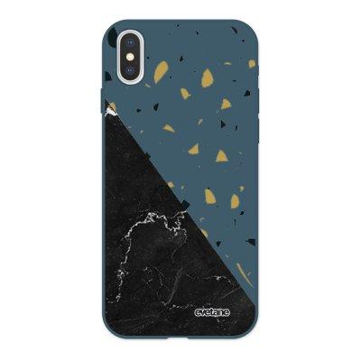 Coque iPhone X/ Xs Silicone Liquide Douce bleu nuit Terrazzo marbre Noir Ecriture Tendance et Design Evetane