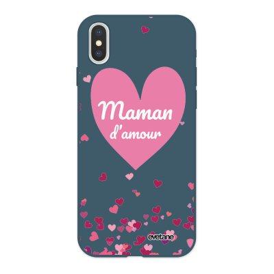 Coque iPhone X/ Xs Silicone Liquide Douce bleu nuit Maman d'amour coeurs Ecriture Tendance et Design Evetane