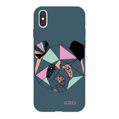 Coque iPhone X/ Xs Silicone Liquide Douce bleu nuit Panda Outline Ecriture Tendance et Design Evetane