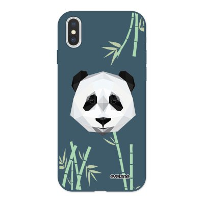Coque iPhone X/ Xs Silicone Liquide Douce bleu nuit Panda Bambou Ecriture Tendance et Design Evetane
