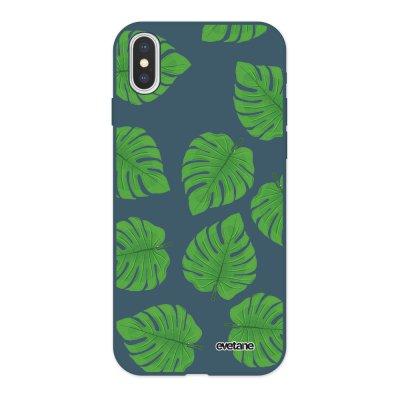 Coque iPhone X/ Xs Silicone Liquide Douce bleu nuit Feuilles palmiers Ecriture Tendance et Design Evetane