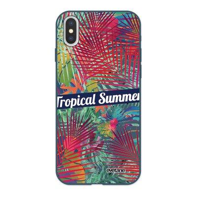 Coque iPhone X/ Xs Silicone Liquide Douce bleu nuit Tropical Summer Ecriture Tendance et Design Evetane