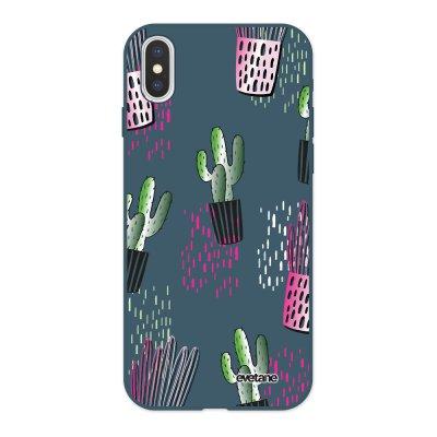 Coque iPhone X/ Xs Silicone Liquide Douce bleu nuit Cactus motifs Ecriture Tendance et Design Evetane