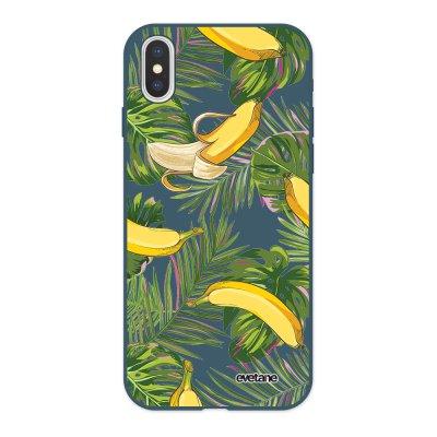 Coque iPhone X/ Xs Silicone Liquide Douce bleu nuit Bananes Tropicales Ecriture Tendance et Design Evetane