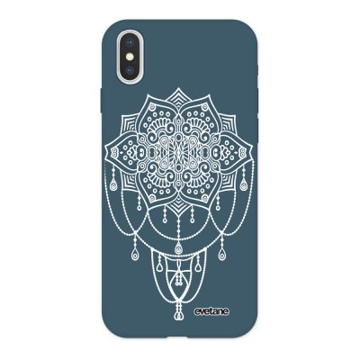 Coque iPhone X/ Xs Silicone Liquide Douce bleu nuit Mandala White Ecriture Tendance et Design Evetane