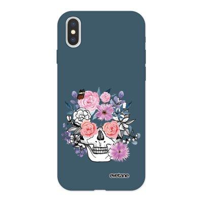 Coque iPhone X/ Xs Silicone Liquide Douce bleu nuit Crâne floral Ecriture Tendance et Design Evetane