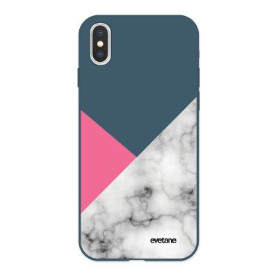 Coque iPhone X/ Xs Silicone Liquide Douce bleu nuit Marbre rose et gris Ecriture Tendance et Design Evetane
