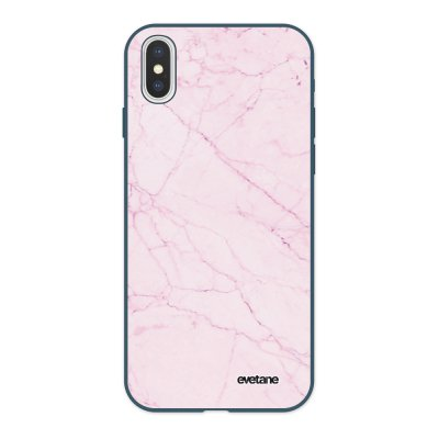 Coque iPhone X/ Xs Silicone Liquide Douce bleu nuit Marbre rose Ecriture Tendance et Design Evetane
