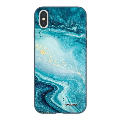 Coque iPhone X/ Xs Silicone Liquide Douce bleu nuit Bleu Nacré Marbre Ecriture Tendance et Design Evetane