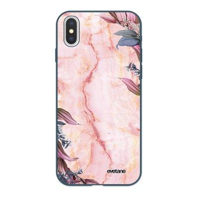 Coque iPhone X/ Xs Silicone Liquide Douce bleu nuit Marbre Fleurs Ecriture Tendance et Design Evetane