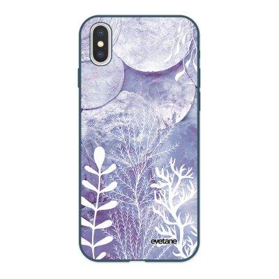 Coque iPhone X/ Xs Silicone Liquide Douce bleu nuit Nacre et Algues Ecriture Tendance et Design Evetane