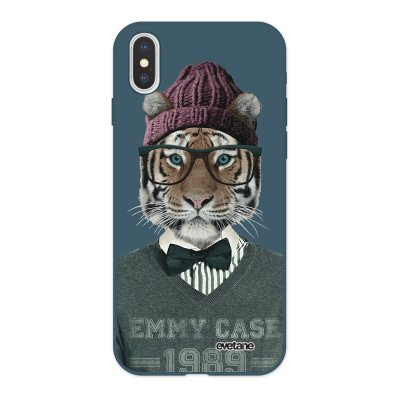 Coque iPhone X/ Xs Silicone Liquide Douce bleu nuit Tigre Fashion Ecriture Tendance et Design Evetane