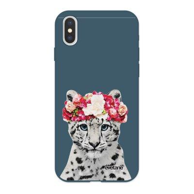 Coque iPhone X/ Xs Silicone Liquide Douce bleu nuit Leopard Couronne Ecriture Tendance et Design Evetane