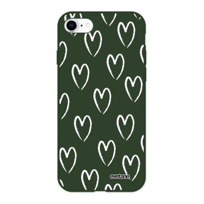 Coque iPhone 7/8/ iPhone SE 2020 Silicone Liquide Douce vert kaki Coeurs Blancs Ecriture Tendance et Design Evetane