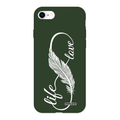 Coque iPhone 7/8/ iPhone SE 2020 Silicone Liquide Douce vert kaki Love life blanc Ecriture Tendance et Design Evetane