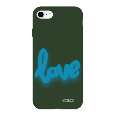 Coque iPhone 7/8/ iPhone SE 2020 Silicone Liquide Douce vert kaki Love Fluo Ecriture Tendance et Design Evetane